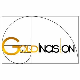 logotipo dourado e preto escrito escrito goldincision com agulha de ouro no lugar do i e espiral de fibonacci atrás