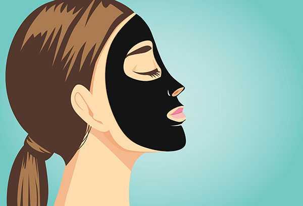 desenho de mulher com máscara preta de carvão ativado para peeling de carbono com laser de yag