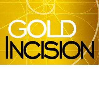 logo do goldincision espiral de fibonacci em fundo dourado